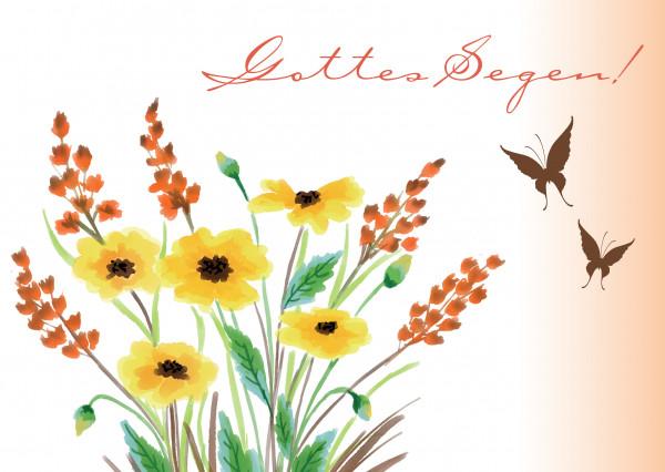Postkarte - gemalte Blumen
