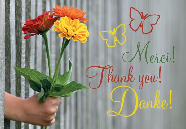 Motivkärtchen: Merci! Danke! Thank you!