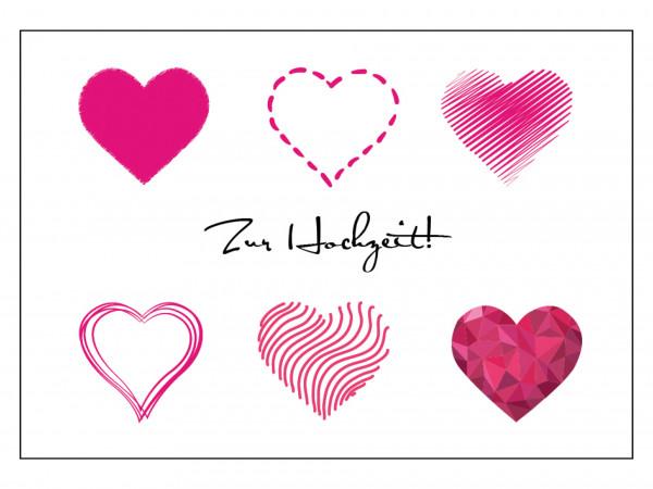 Faltkarte - Herzen zur Hochzeit