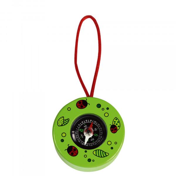 Kompass aus Holz - grün