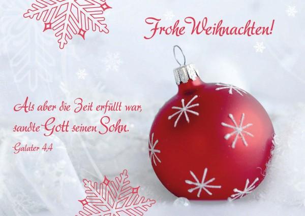 Weihnachtsgrüße Postkarte.Postkarte Rote Kugel Frohe Weihnachten