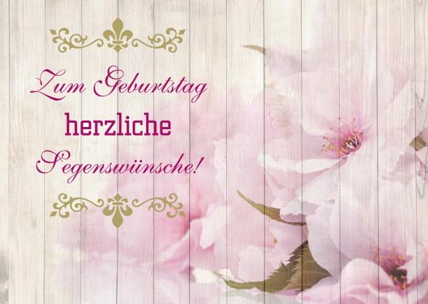 """Postkarte """"Zum Geburtstag herzliche Segenswünsche!"""""""