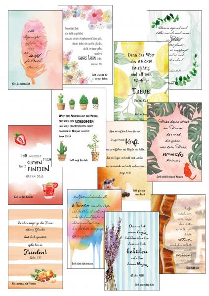 12 Postkarten im Aquarelldesign