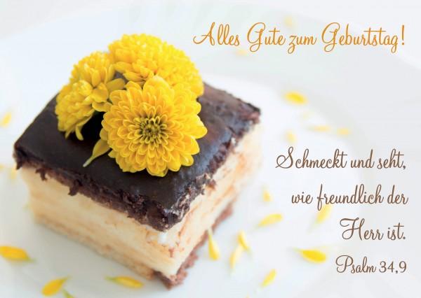 """Postkarte """"Kuchen mit gelben Blumen"""""""