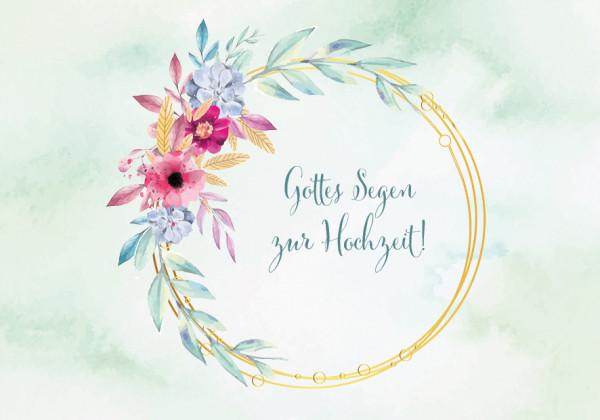 Faltkarte - Blumenkranz zur Hochzeit
