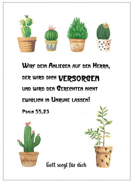 Postkarte im Aquarelldesign - Kaktus