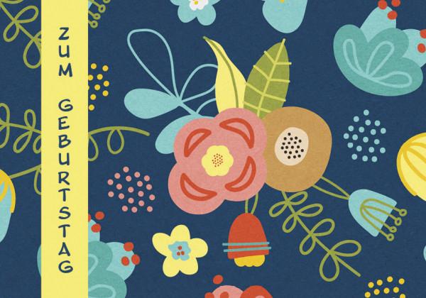 Faltkarte - Zum Geburtstag bunte Blumen