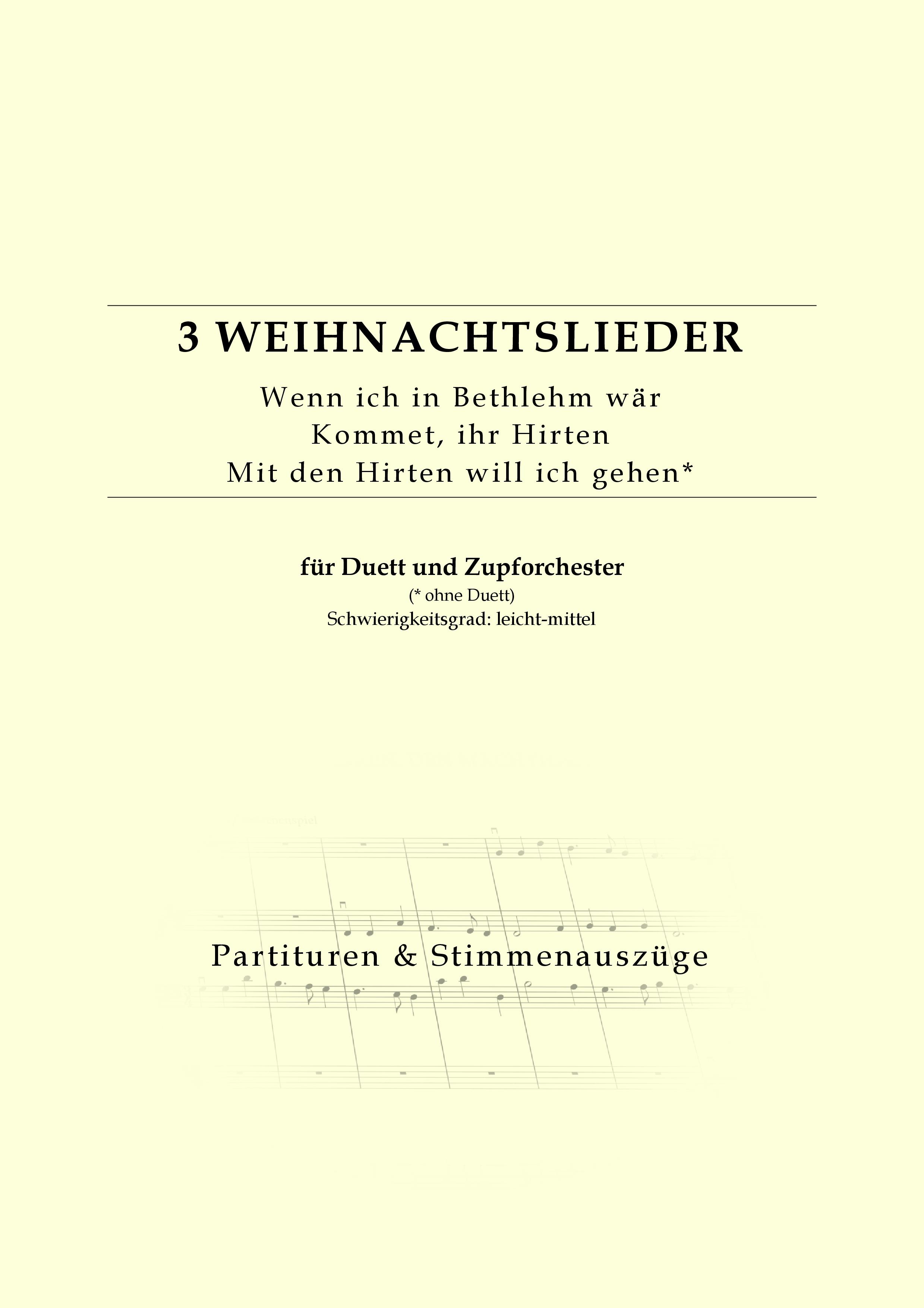 Partitur für Zupforchester: Drei Weihnachtslieder | Friedensstimme.com