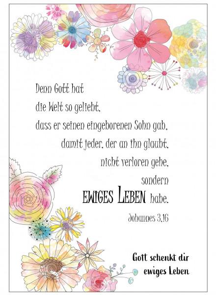 Postkarte im Aquarelldesign - Blumenrahmen